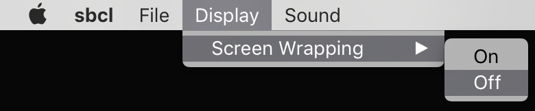 Screenshot of the display menu