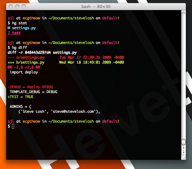 Screenshot of my Terminal, with colors.